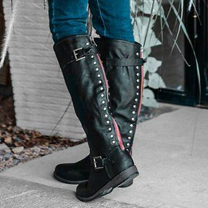 Black Studded Knee High Red Zip Riding Boots